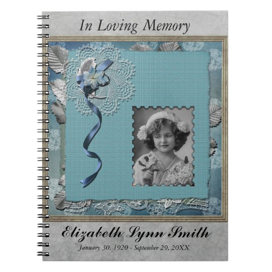 Funeral Memorial Personalised Photo Guestbook Spiral Notebook