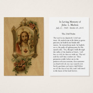 Funeral Memorial  Sacred Heart Jesus Good Shepherd Business Card