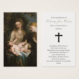 Funeral Prayer Card Madonna & Child & St Catherine
