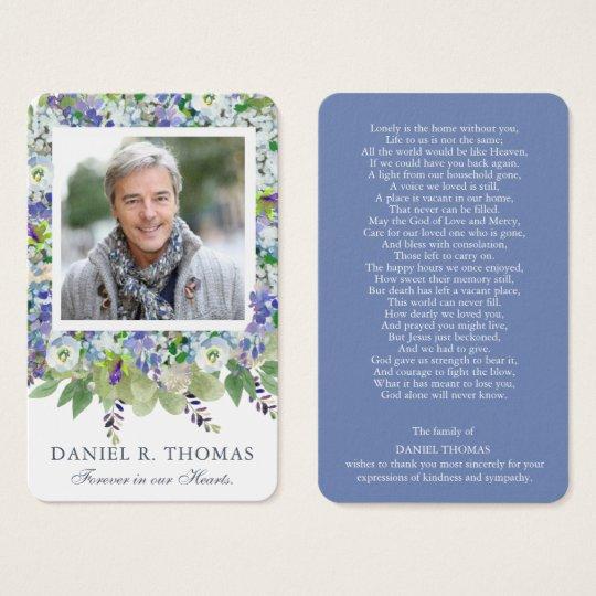 Funeral Prayer Card   Purple Florals