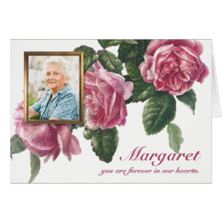 Funeral Sympathy Tea Rose & Photo Note Card