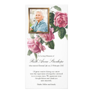 Funeral Sympathy Tea Rose & Photo Thank You Card Customized Photo Card