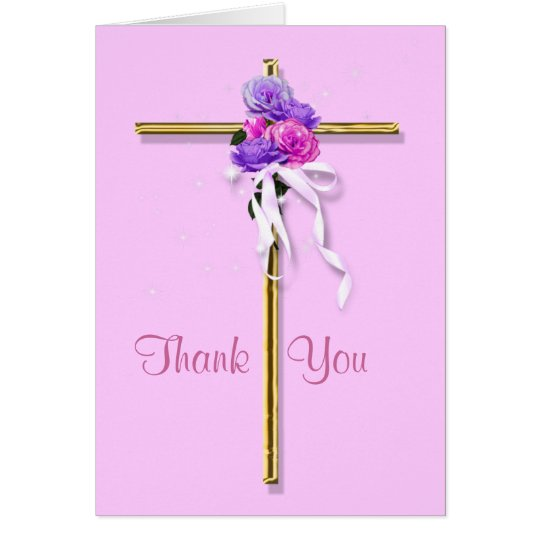 "Funeral ""Thank you"" pink floral religious Card"