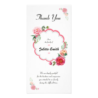Funeral Thank You Sympathy Card Customized Photo Card