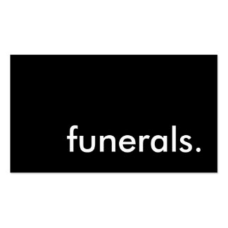 funerals. pack of standard business cards