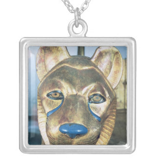 Funerary bedhead in the form of a lion silver plated necklace