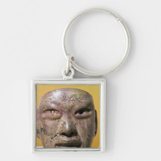Funerary mask, Olmec, from Mexico Silver-Colored Square Key Ring