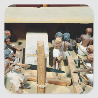 Funerary model of a carpentry workshop square sticker