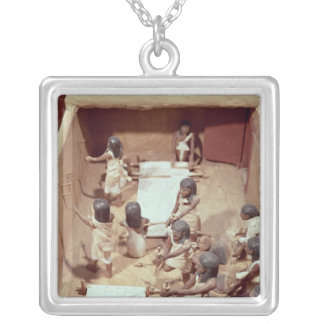 Funerary model of a textile workshop silver plated necklace