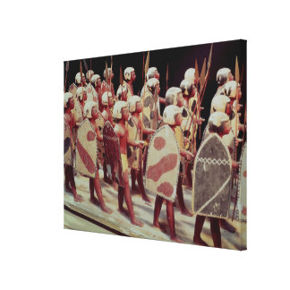 Funerary model of marching armed soldiers gallery wrapped canvas