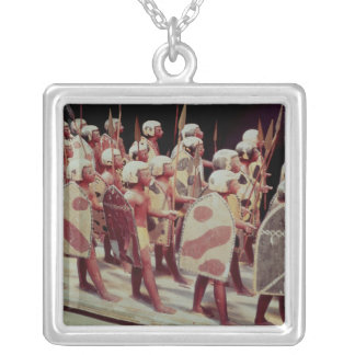 Funerary model of marching armed soldiers silver plated necklace