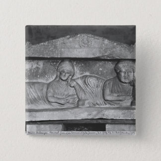 Funerary relief of a couple, from Palmyra, Syria 15 Cm Square Badge