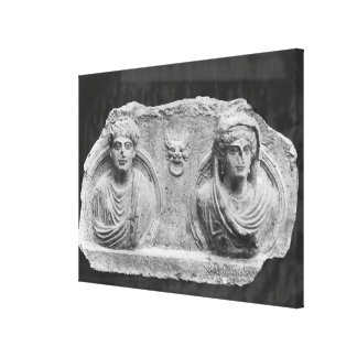 Funerary relief of a couple, from Palmyra, Syria Stretched Canvas Print