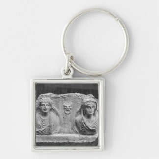Funerary relief of a couple, from Palmyra, Syria Silver-Colored Square Key Ring