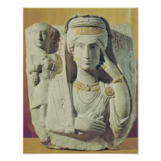 Funerary relief with a female figure poster