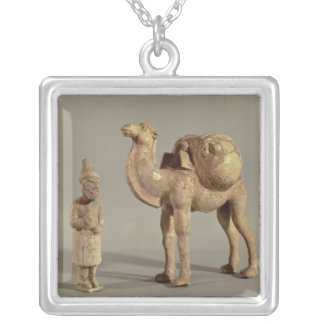 Funerary statuettes of a laden camel silver plated necklace