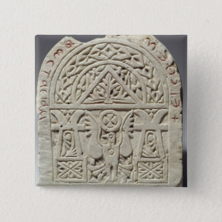 Funerary stela with a dove or eagle, 8th-9th centu 15 cm square badge