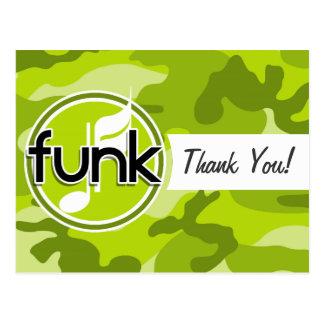 Funk; bright green camo, camouflage postcard