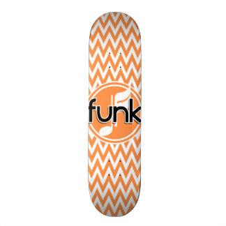 Funk; Orange and White Chevron Custom Skate Board