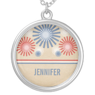 Funky 4th of July Fireworks & Stripes Necklace
