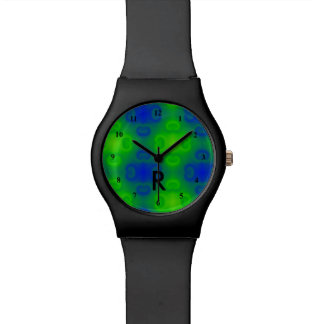 Funky 70s Abstract Neon | Monogrammed Blue Green Wrist Watches