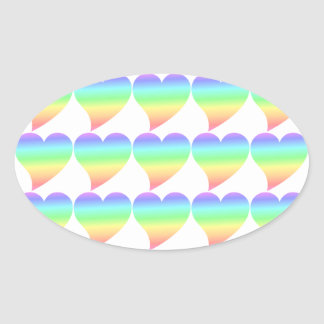 Funky 70s Bright Retro Heart Pastel Rainbow Love Oval Sticker