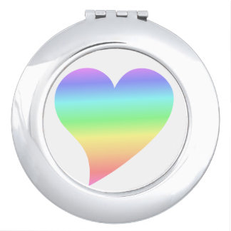 Funky 70s Bright Retro Heart Pastel | Rainbow Love Travel Mirrors