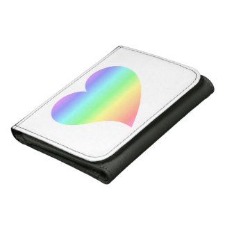 Funky 70s Bright Retro Heart Pastel Rainbow Love Wallets