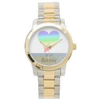 Funky 70s Bright Retro Heart Pastel Rainbow Love Watch