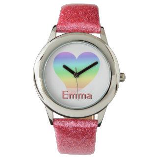 Funky 70s Bright Retro Heart Pastel Rainbow Love Wristwatch