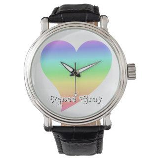 Funky 70s Bright Retro Heart Pastel Rainbow Love Wristwatches