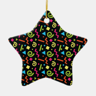 Funky 90's Retro Theme Ceramic Star Decoration