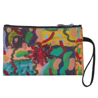Funky Abstract Art Mini Clutch Wristlet Clutch