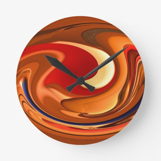 Funky Abstract Burnt Orange and Red Design Round