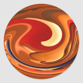 Funky Abstract Burnt Orange and Red Design Round Sticker