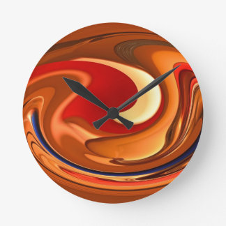 Funky Abstract Burnt Orange and Red Design Wall Clock