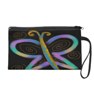 Funky Abstract Butterfly Wristlet Purse