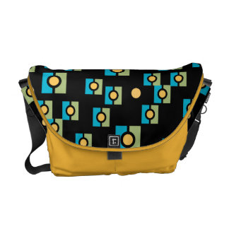 Funky Abstract Circle in Squares Pattern Commuter Bags