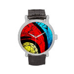 Funky Abstract Circles Art Wristwatch