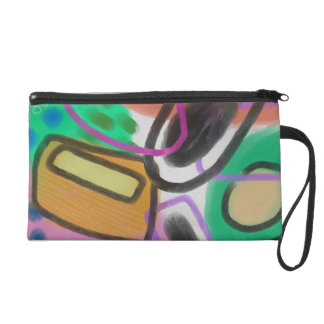 Funky Abstract Digital Painting on Wristlet Purse