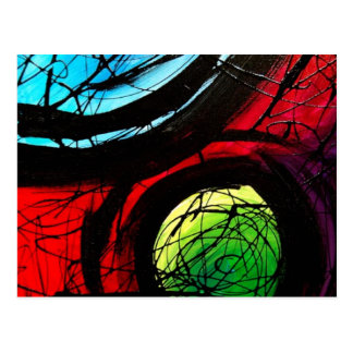 Funky Abstract Dots Art Postcard