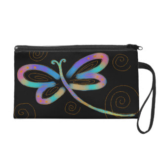 Funky Abstract Dragonfly Wristlet Clutches