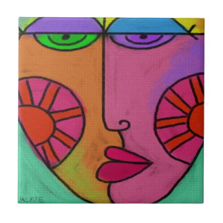 Funky Abstract Face Small Square Tile