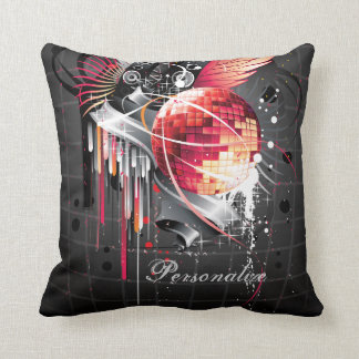 Funky Abstract Girly Disco Ball Music Design Cushion