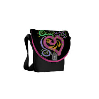 Funky Abstract Heart Painting Messenger Bag