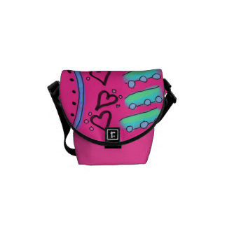 Funky Abstract Hearts Courier Bags