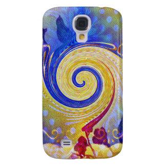 Funky Abstract Lollipop Swirl Pattern Roses Birds Galaxy S4 Case