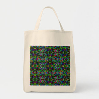 Funky Abstract Neon Psychedelic Grocery Tote Bag