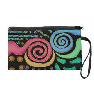 Funky Abstract Painting Clutch Wristlet Purse