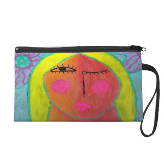 Funky Abstract Portrait of a Woman Wristlet Clutch